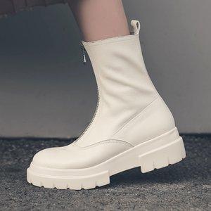 Women Genuine Leather Boots fashion Handmade cow patent Front zipper platform short Tube circ Q1201