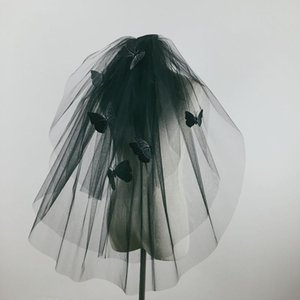 Black Veil Cadılar Bayramı Cos Fotoğraf Gelin Podyum Basit Retro Seyahat vur Kelebek Veil
