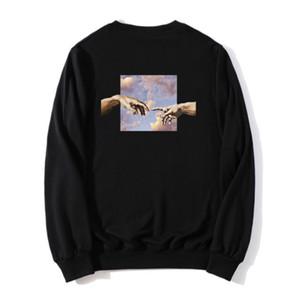 Michelangelo Men Hoodie Hip Hop Fashion Men's Sweatshirt 100% Cotton Harajuku Cartoon Hand Print Hoodies Black Male Streetwear