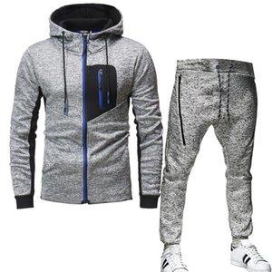 Track suit men's suit fall winter jacquard hoodie polar fleece hooded men's fleece + pants zipper sweatshirt casual sports
