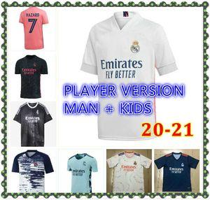 Hommes Kids Kit Real Madrid Soccer Jersey quatrième 20 21 22 Hazard Asensio Sergio Ramos Camiseta 2020 2021 Vini Jr Mendy Player Chemises de football