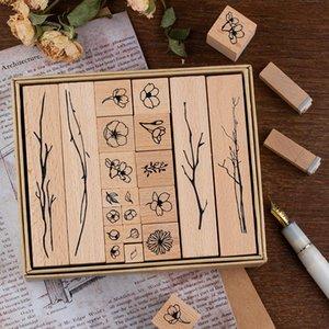 20 قطع مربع خشبي المطاط النباتات النباتات والنباتات لفتة الديكور ختم طالب القرطاسية diy كرافت القياسية القصاصات العفن bbyyfl