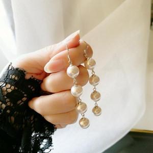 925 sterling silver earring Fashion tassel Pearl Long Earring face-lifting drop wild trend girl silver ear jewel