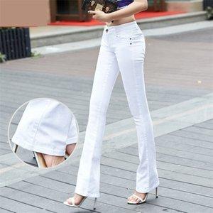 QBKDPU Artı Boyutu Renkli Pantolon Flare Pantolon Siyah Ve Beyaz Çan Alt Pantolon Seksi Parti Kulübü Kot Pantalones Para Mujer 201031
