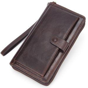 Banlosen Männer Rind Kupplungs-Mappen-echtes Leder Lange Portemonnaies Geschäft großen Kapazitäts-Wallet-Doppelt-Reißverschluss-Telefon-Beutel für Männer