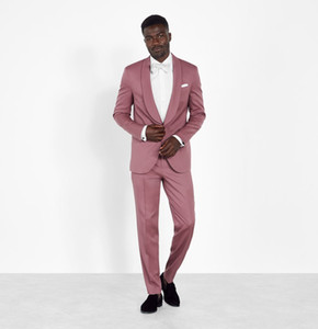 Fashion Pink Formal Mens Pants Suits Plus Size Groom Best Man Coat Business Wedding Blazer (Jacket+Pants)
