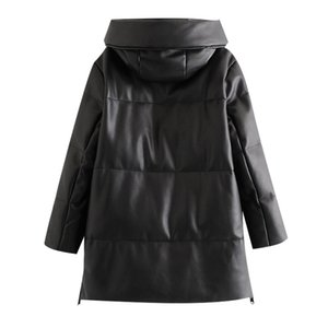 BBWM Frauen Winter Mode Dicke Warme Faux Leder Parkas Vintage Mit Kapuze Langarm Gepolsterte Jacke Weibliche Chic-Mantel 201119