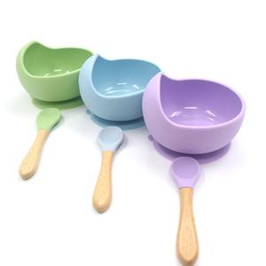 Kaplar Besleme Bebek Silikon bulaşığı Güçlü Sucker Waterproog Bowl Kaşık Seti Çocuk Emme Çanak Bebek Maması Bowl Bebek
