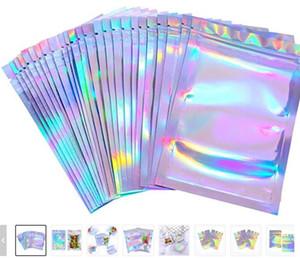 100 pezzi richiudibili odore borse a prova di foglio sacchetto foglio sacchetto piatto piatto laser colorato sacchetto di imballaggio per la festa con favore del partito