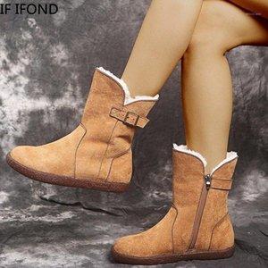 Если Ifond мода дышащие женщины снежные сапоги платформы теплые зимние сапоги с толстыми меховыми середины обуви Botas de Mujer1