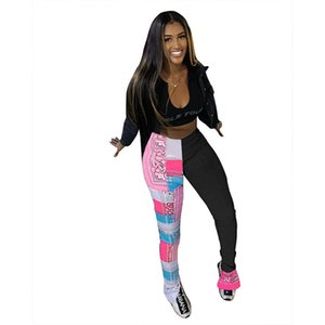 Womens Casual Hosen Mode Persönlichkeit Drucken Täfelte verschüttete Womens gestapelte Flare Pants Casual Sport Style Womens Hose