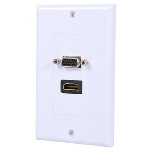1 Port HDMI Kadın + 1 Port VGA Kadın AV Duvar Plakası Çıkış Video Soket Yüz Bağlayıcı Plaka