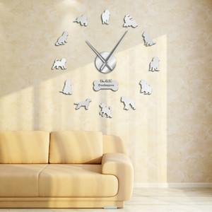 Cockapoo DIY Grande Relógio de parede cão de cocker spaniel da raça Frameless DIY gigante Relógio de parede Silencioso Movimento Assista amantes Spoodle presente Y200407