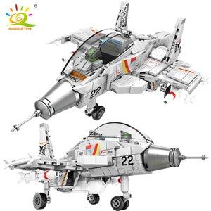 HUIQIBAO 366PCS Flanker-D Shipborne Fighter Building Block Airplane Military City Plane Model Bricks Construction Children Toys