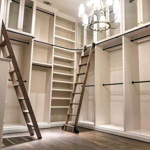 3.3ft 6.6ft Rustic Black Rolling Library Ladder Kit Quiet Glide Rolling Hook Library Ladder Hardware