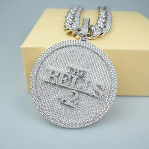 Vergoldet ausgefrorener Namensbuchstabe Große Größe Diamant Runde Anhänger Halskette 18 Karat vergoldet Herren Hiphop Bling Schmuck Geschenk