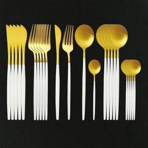 24Pcs White Gold Matte Dinnerware Set 304 Stainless Steel Flatware Knife Fork Spoon Silverware Cutlery Set Kitchen Tableware Set Y1127