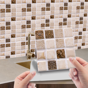 10pcs 3D Self-Adhesive Mosaic Tile Sticker Kitchen Bathroom Wall Stickers Decor