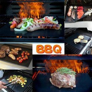 غير عصا شواء شواء حصيرة سميكة دائم 33 * 40 سنتيمتر شواء الشواء حصيرة قابلة لإعادة الاستخدام لا عصا bbq شواء حصيرة ورقة نزهة الطبخ أداة EEE3519