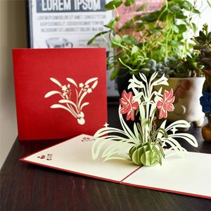 10 Pack Wholesale Daffodil 3d Pop Up Card Birthday Gift With Envelope Sticker Flower Laser Cut Invitation Greeting Card Postcard wmtDLK