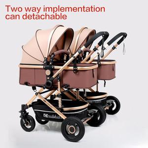 قابل للانفصال التوأم عربة يمكن الجلوس الاستلقاء للطي عربة عالية المشهد الطفل عربة مزدوجة مقعد سلة الرضع النقل الرضع 0-3Y1
