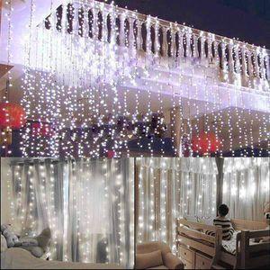 wholesale 15M x 3M 1500-LED Warm White Light Romantic Christmas Wedding Outdoor Decoration Curtain String Light US Standard Warm White