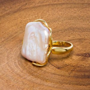 BaroqueOnly Natural freshwater Baroque pearl ring retro style 14K notes gold retro style irregular shaped square ring RFB1