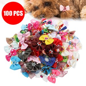 100Pcs Dog Hair Bows Dog Topknot Multicoloured Bows Pet Puppy Hair Bows Bright Flower Peals Pet Grooming Products
