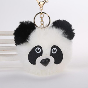 Fashion Fluffy Faux Rabbit Fur Ball Panda Keychain Women Bag Charms Pom Pom Bear Cat Gold Silver Key Ring Chain Jewelry Trinket jllBXK