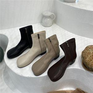 Hot Sale-Women's Leather Boots Booties Ladies Shoes Low Heels booties Winter Footwear Round Toe Boots-women Mid Calf Mid-Calf