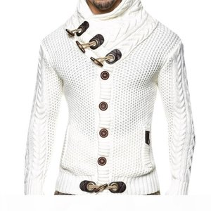 Spring autumn sweaters men large size single button and horn button sweater turtle neck black gray white brown cardigans Men's Sweaters