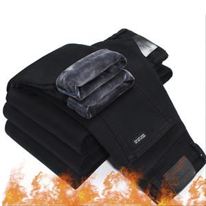 Men Fashion Winter Jeans Men Black Slim Fit Stretch Thick Velvet Pants Warm Jeans Casual Fleece Trousers Male Plus Size 201203