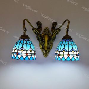 Lâmpada de parede Mergulhada dupla Sereia Europeia Retro Mediterrâneo Azul Vidro E27 110-240V para sala de jantar Sala de sala Barco DHL