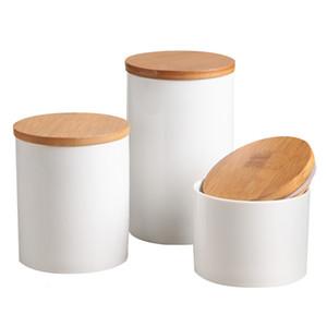 Pure Ceramic Ceramic Contenants avec étanchéité Aurance Couvercle en bambou, Jarre de stockage de cuisine pour le sucre de thé Spice Spice Assaisonnement et plus