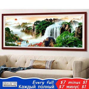 """Kamy yi quadrado cheio / redonda broca 5d diy diamante pintura """"floresta cachoeira"""" bordado ponto cruz mosaico decoração home hyy c1123 C1123"""