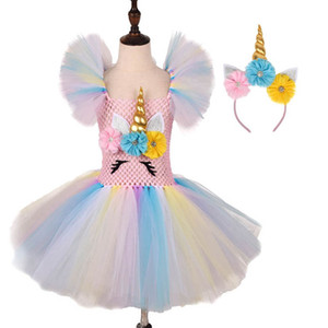 Unicorn girls dresses+headbands 2pcs set flower girls dress for wedding Tutu dress party princess dress formal dresses pageant dresses B3157