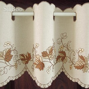 cortina de flores brown floral embroidery half-curtain bay window curtain for coffee room rideaux gardinen SP4040 Free shipping