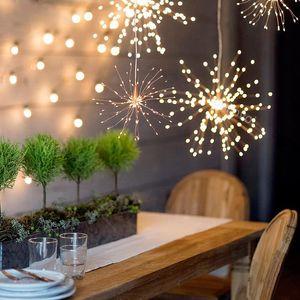 크리스마스 조명 LED 문자열 불꽃 놀이 200LED 8Mode 컨트롤러 3000k 야외 안뜰 크리스마스 장식 LED 조명에 대 한 여러 가지 빛깔의