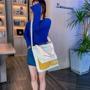 New Fashion Female Zipper Portable Shopping Bag Simple Wild Canvas Bags Portable Handle Crossbody Pack Shoulder Bucket Decorative Zipper Bag