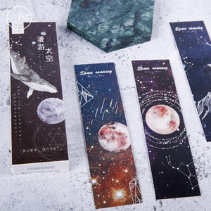 30 pcs pack Dream Space Constellation Paper Bookmark Stationery Bookmarks Book Holder Message Card School Student Supplies1