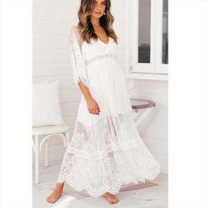 2020 Summer Boho Women Maxi Dress Half Sleeve Split White Lace Long Tunic Beach Dress Drop Shipping