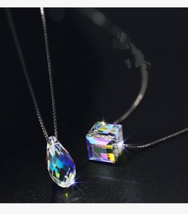 Hot European Fashion Jewelry Water Drop Cube Cube Sugar Pendant necklace Crystal from Swarovskis Flashing For Women Gifts