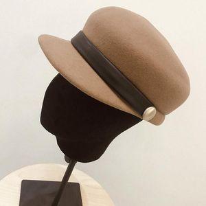 2020 Nova moda de lã de feltro de lã para mulheres de lã quente outono chapéu de outono boina beret boné bege preto camelo casual senhoras lisas laboratem