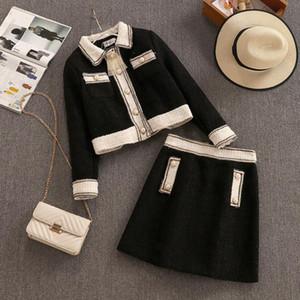 Sonbahar ve kış retro moda kaba tüvit ceket kısa ceket ve mini etek bayan zarif iki parçalı yün etek setleri