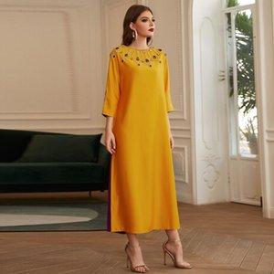 Повседневные платья Vestidos Рождество 2021 Robe de Noel атлас Мусульманская Абая Дубай Турция Длинное платье Femme Maxi для женщин плюс размер одежды