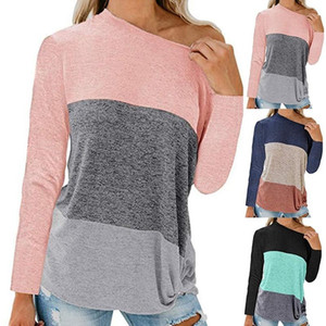 Femme Sexy Strapless T-shirt Summer One Shoulder Tops For Women Long Sleeve T Shirt Casual Loose Shirts Plus Size