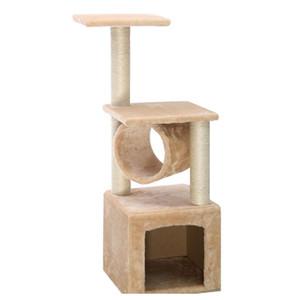 "Deluxe 36 ""Cat Tree Condominio Muebles Play Toy Scratch Post Kitten Pet House Beige"