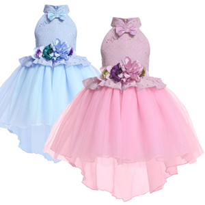 Fashion Girls Party Dress Formal Stage Show Bow Tuxedo Dress Elegant Princess Dress for Party Girl Clothes