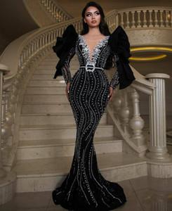 Stunning Mermaid Black Evening Dresses for Women Party Beading Scoop Prom Dress Long Sleeve Arabic Graduation Robes De Soirée
