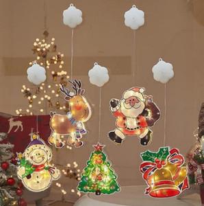 Newest Santa Claus Bell Snowman Elk Christmas Tree LED Light Suction Cup Light Window Decoration Christmas Lantern